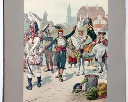 Les garnisons d'Alsace - Gravure Tanconville - Les troupes espagnoles division Romana à Strasbourg 1805