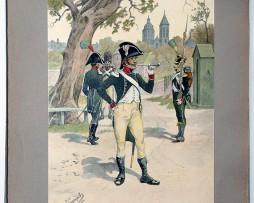 Les garnisons d'Alsace - Gravure Tanconville - Régiment de Latour-Maubourg - 1805/1809
