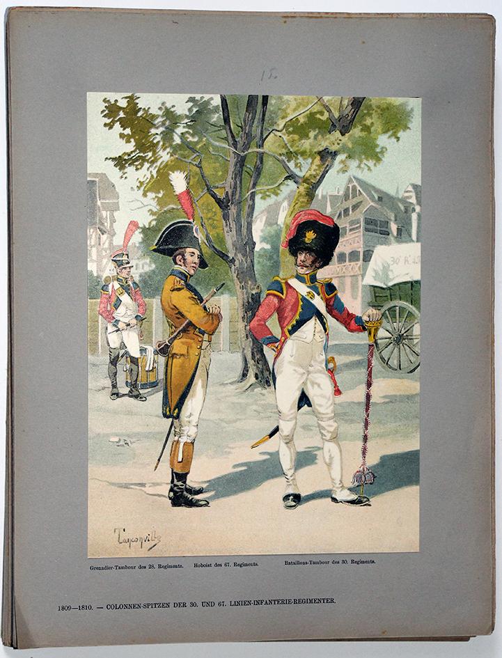 Les garnisons d'Alsace - Gravure Tanconville - Tête de colonne d'infanterie 1809/1810