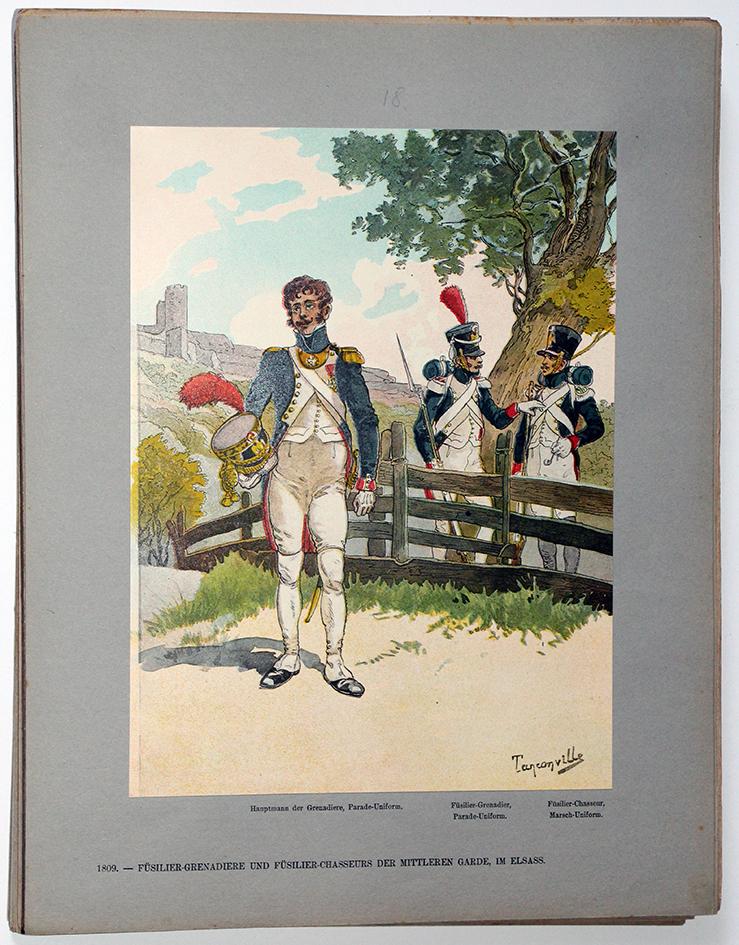 Les garnisons d'Alsace - Gravure Tanconville - Fusilier Grenadier et Fusilier Chasseur - Moyenne Garde 1809