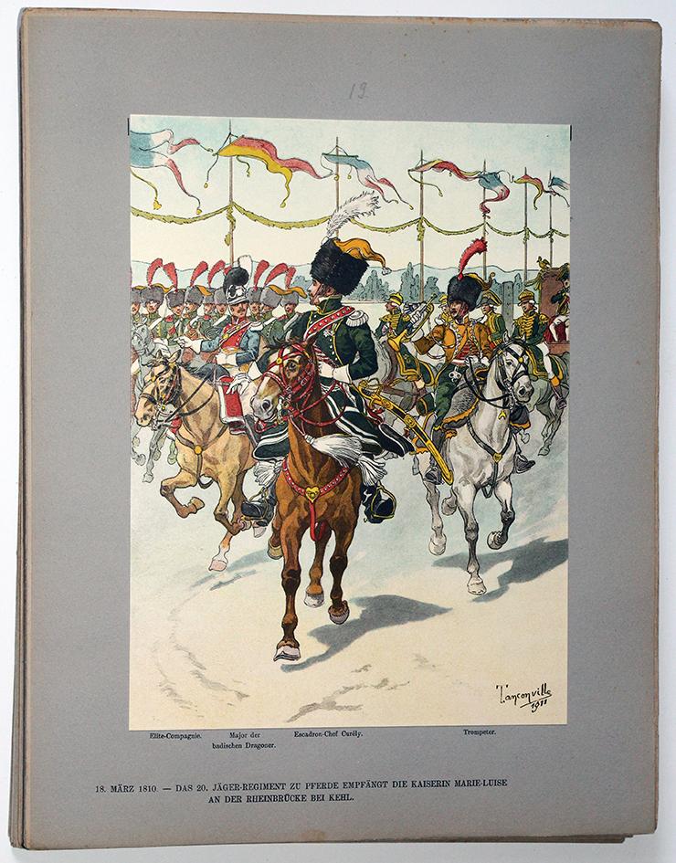 Les garnisons d'Alsace - Gravure Tanconville - Chasseurs à Cheval 1810