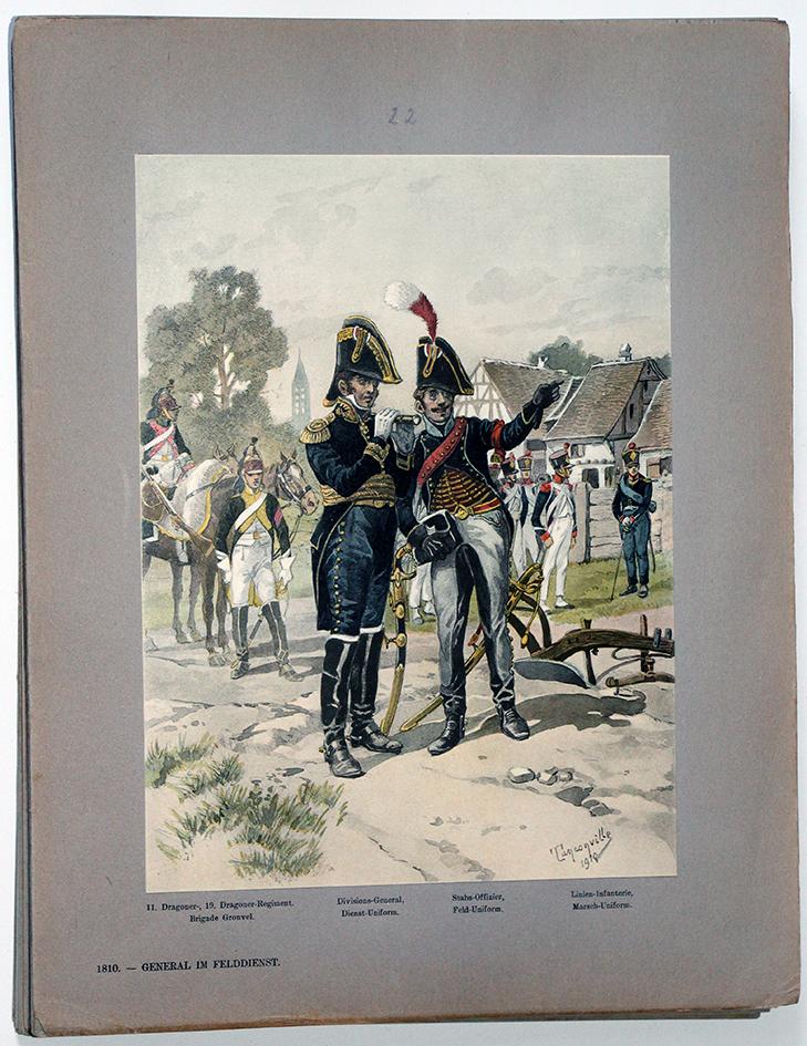 Les garnisons d'Alsace - Gravure Tanconville - Général en tenue de campagne 1810