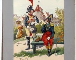 Les garnisons d'Alsace - Gravure Tanconville - Gendarmerie à Pied 1810