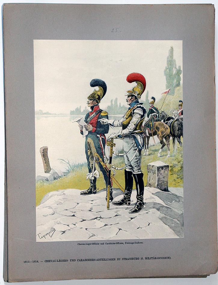 Les garnisons d'Alsace - Gravure Tanconville - Chevau-legers et Carabiniers 1813/1814