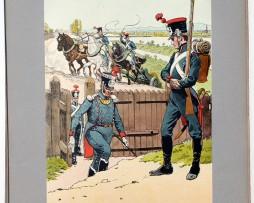 Les garnisons d'Alsace - Gravure Frédéric Regamey - Artillerie de la Garde Nationale 1814