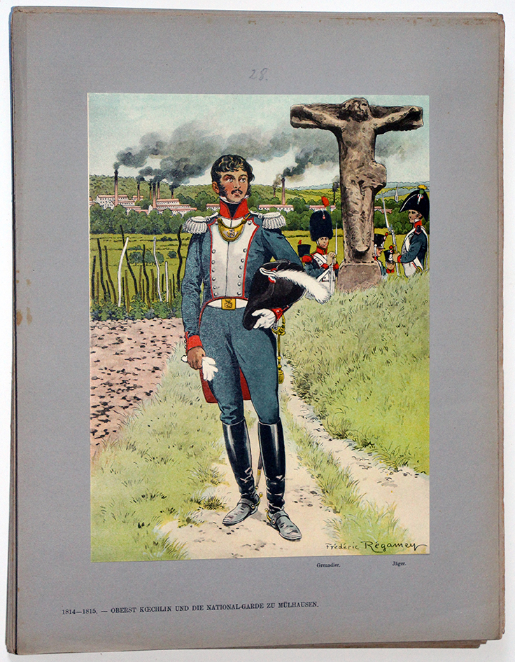 Les garnisons d'Alsace - Gravure Frédéric Regamey - Officier de la Garde Nationale 1814/1815
