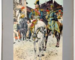 Les garnisons d'Alsace - Gravure Frédéric Regamey - Général Rapp et son état Major 1815