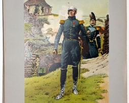 Les garnisons d'Alsace - Gravure Frédéric Regamey - Général Barbanègre à Huninge 1815
