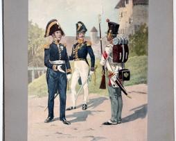 Les garnisons d'Alsace - Gravure Tanconville - Officier d'état major - Compagnie de réserve 1815