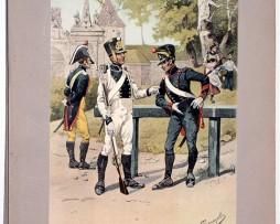 Les garnisons d'Alsace - Gravure Tanconville - Légion départementale et bataillon de pionnier 1819