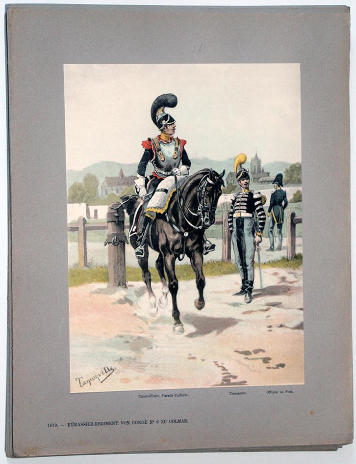 Les garnisons d'Alsace - Gravure Tanconville - Régiment de Cuirassier de Condé n°6 1819