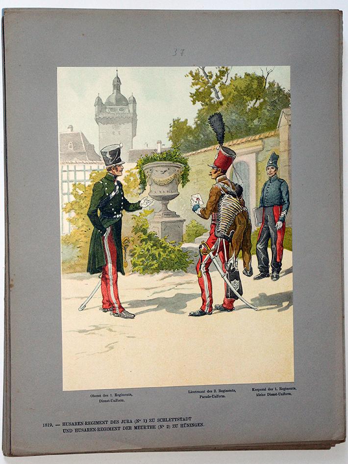Les garnisons d'Alsace - Gravure Tanconville - Hussards du Jura et Hussards de la Meurthe 1819