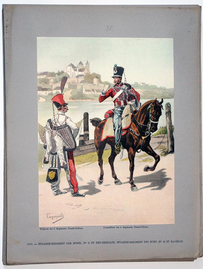 Les garnisons d'Alsace - Gravure Tanconville - Hussards du Nord et Hussards de la Moselle 1819