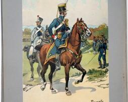 Les garnisons d'Alsace - Gravure Tanconville - Artillerie à Cheval 1819