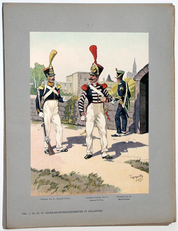 Les garnisons d'Alsace - Gravure de Tanconville - Infanterie de Ligne 1824