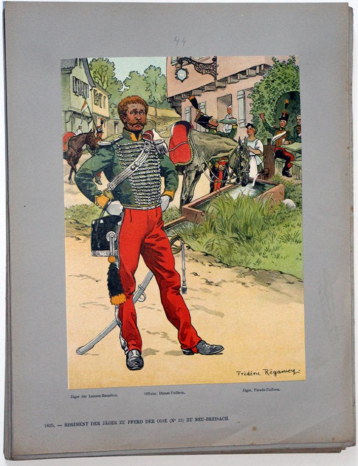 Les garnisons d'Alsace - Gravure Régamey - Chasseur à cheval 1825