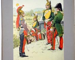Les garnisons d'Alsace - Gravure Régamey - Dragons à cheval 1825