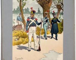 Les garnisons d'Alsace - Gravure de Tanconville - Pontonnier et Train 1825