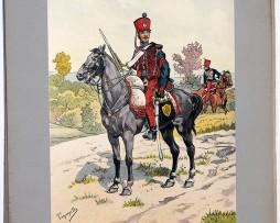 Les garnisons d'Alsace - Gravure de Tanconville - Hussards du Bas Rhin 1825