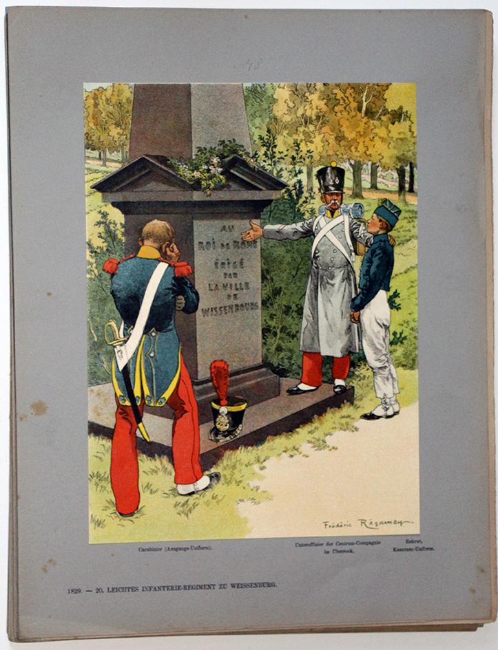 Les garnisons d'Alsace - Gravure Régamey - Infanterie Légère 1829