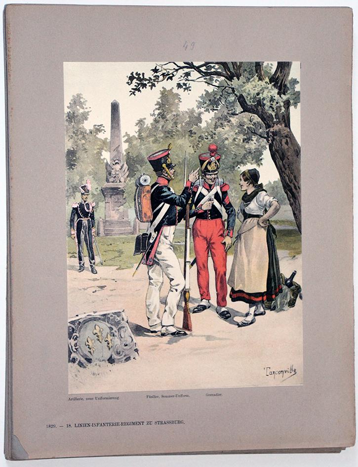 Les garnisons d'Alsace - Gravure Régamey - Infanterie De Ligne 1829