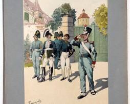 Les garnisons d'Alsace - Gravure Tanconville - Intendant et Médecin Militaire 1824/1829