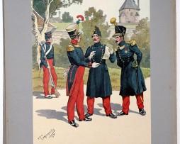Les garnisons d'Alsace - Gravure Tanconville - Infanterie de Ligne 1823