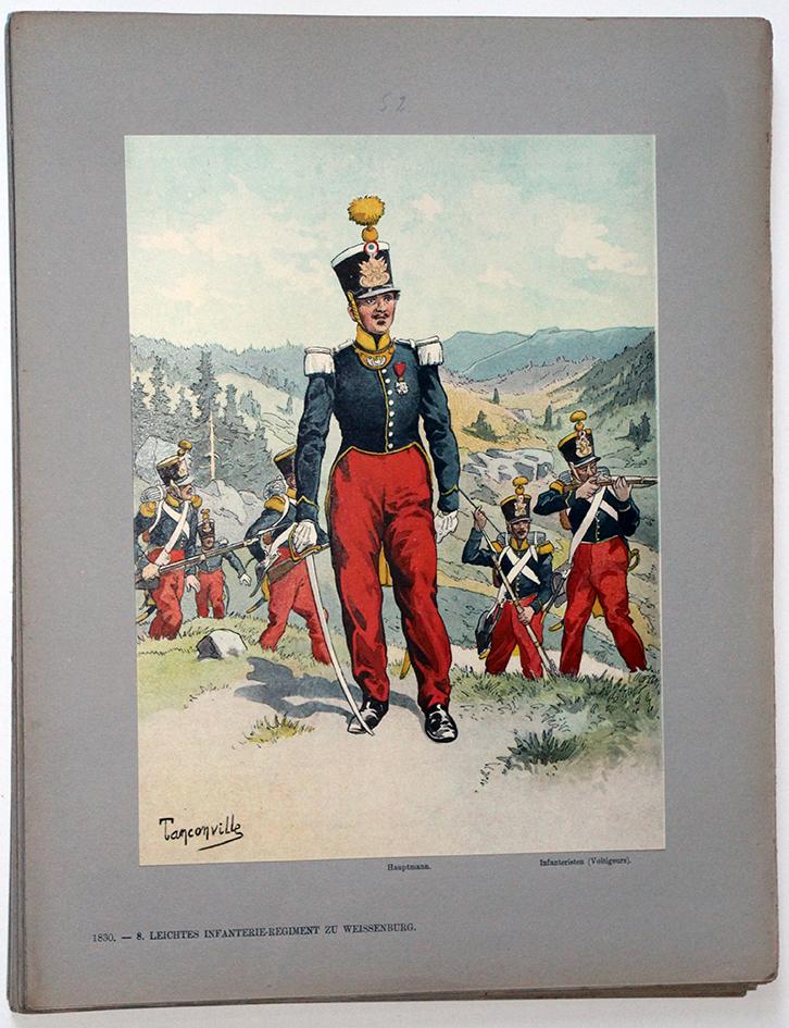 Les garnisons d'Alsace - Gravure Tanconville - Infanterie Légère 1830