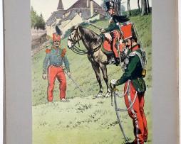 Les garnisons d'Alsace - Gravure Régamey - Chasseurs à cheval 1831