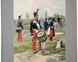 Les garnisons d'Alsace - Gravure Tanconville - Infanterie Légère 1835