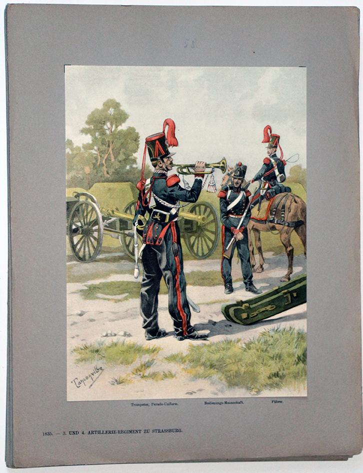 Les garnisons d'Alsace - Gravure Tanconville - Artillerie Régiment 1835