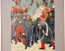 Les garnisons d'Alsace - Gravure Regamey - Louis Napoleon Bonaparte à Strasbourg 1836