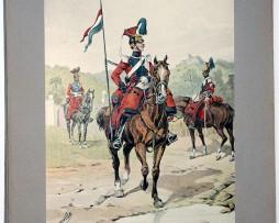 Les garnisons d'Alsace - Gravure Tanconville - 1er Régiment de Lanciers d'Orléans 1837