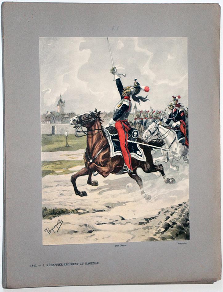 Les garnisons d'Alsace - Gravure Tanconville - 1er Régiment de Cuirassiers 1840