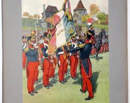 Les garnisons d'Alsace - Gravure Regamey - Remise de drapeau Infanterie de Ligne 1840