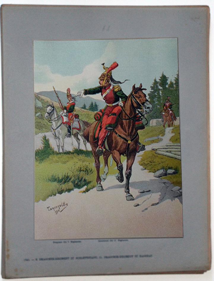 Les garnisons d'Alsace - Gravure Tanconville - Régiment de Dragons 1840