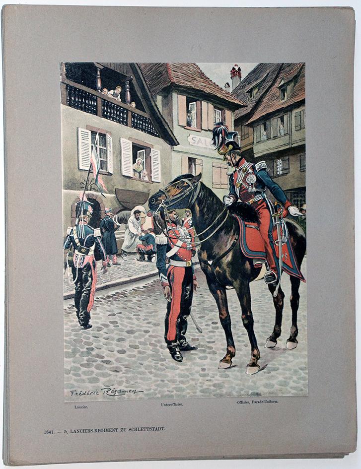 Les garnisons d'Alsace - Gravure Regamey - 5 Régiment de Lanciers 1841