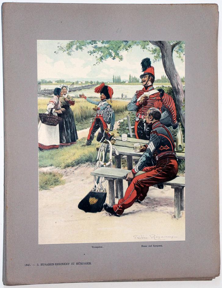 Les garnisons d'Alsace - Gravure Regamey - 3e Régiment de Hussards 1845