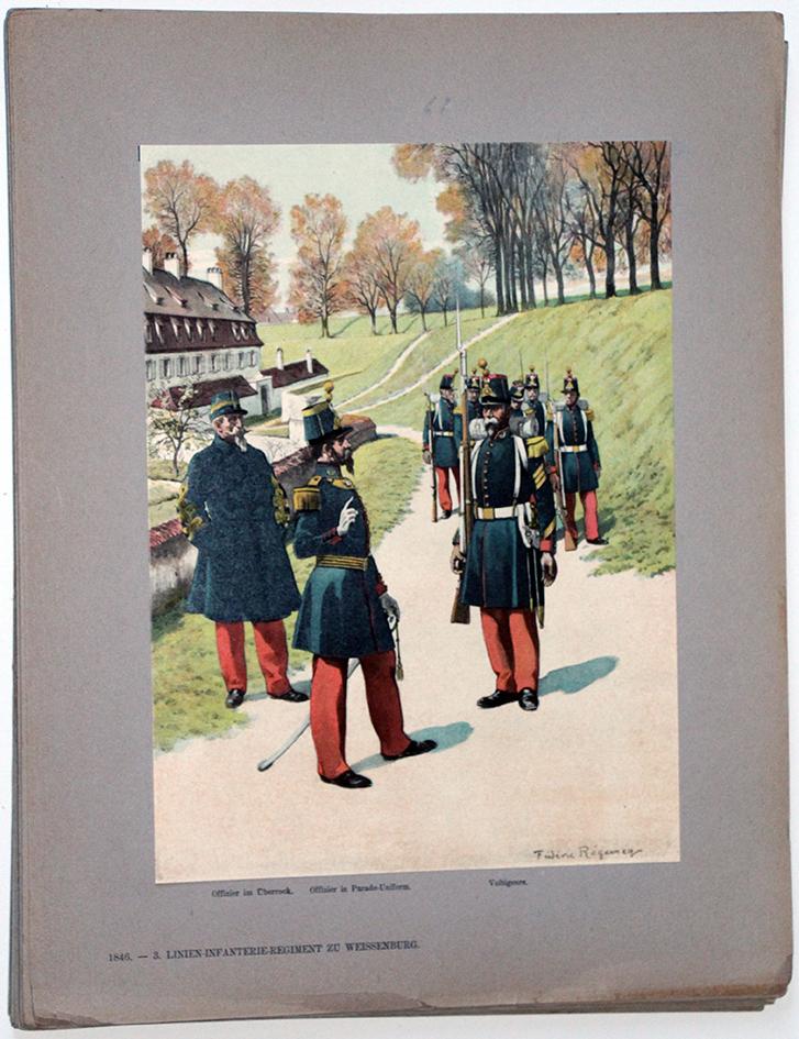 Les garnisons d'Alsace - Gravure Regamey - Infanterie de Ligne 1845
