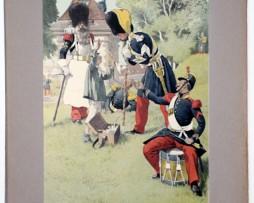 Les garnisons d'Alsace - Gravure Regamey - Infanterie de Légère 1845