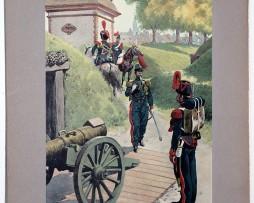 Les garnisons d'Alsace - Gravure Regamey - Artillerie Régiment 1848