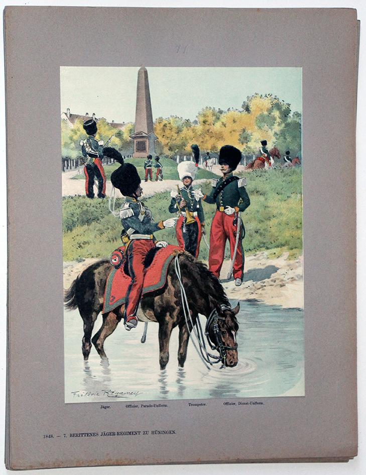 Les garnisons d'Alsace - Gravure Regamey - Régiment de Chasseurs à Cheval 1845