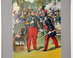 Les garnisons d'Alsace - Gravure Tanconville - Fête militaire a Strasbourg 1845
