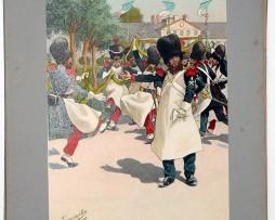Les garnisons d'Alsace - Gravure Tanconville - Garde National à Strasbourg Fête parc de l'orangerie