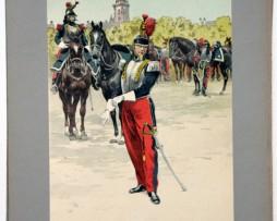 Les garnisons d'Alsace - Gravure Regamey - Régiment de Cuirassiers 1851