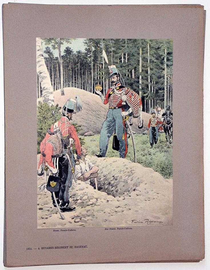 Les garnisons d'Alsace - Gravure Regamey - 4e Régiment de de Hussards 1851