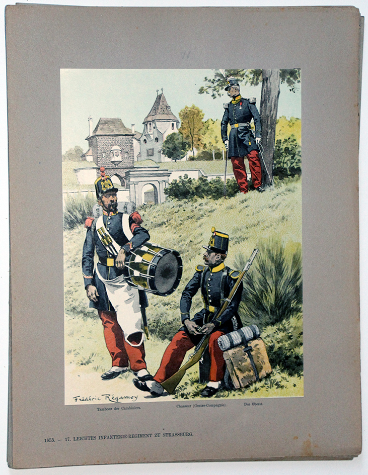 Les garnisons d'Alsace - Gravure Regamey - Infanterie Légère 1853