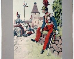 Les garnisons d'Alsace - Gravure Regamey - 5 Régiment de Lanciers 1853