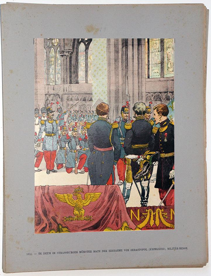 Les garnisons d'Alsace - Gravure Tanconville - Te deum Cathédrale victoire de Sébastopol 1855