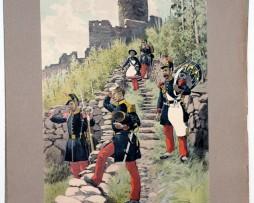 Les garnisons d'Alsace - Gravure Regamey - Infanterie de Ligne 1856